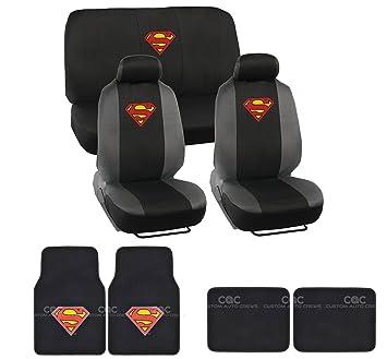 15pcs New Superman Car Seat Covers Set With Heavy Duty Carpet Floor Mats Shoulder Pads