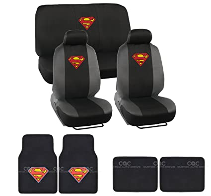15pcs New Superman Car Seat Covers Set With Heavy Duty Carpet Floor Mats Shoulder Pads