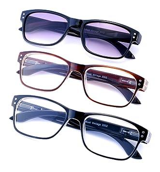 c52d757ec8a5 Value 3-Pack Retro Wayfarer Style Reading Glasses including One Sun Reader.  Stylish Rectangular