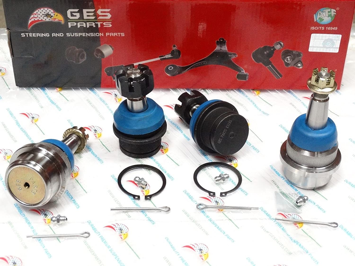 GES PARTS 99-04 Grand Cherokee 07-17 Wrangler 4PCS Suspension Front Ball Joint K3134 K3185