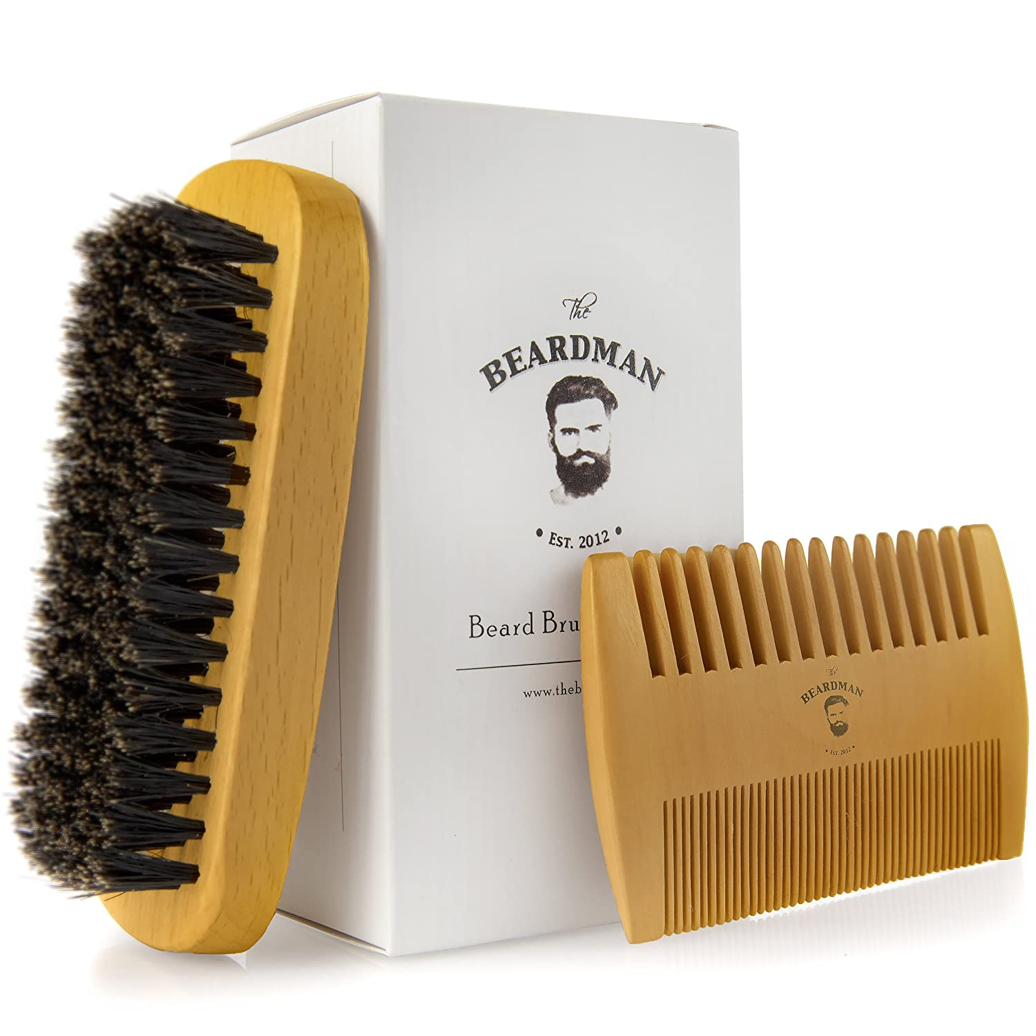 The Beardman Beard & Hair Brush, Bamboo/Beachwood with 100% Soft Boar Bristles, Comb Beards and Mustache Complete with Muslin Style Cotton Gift Bag (Soft) Soft Beard Brush