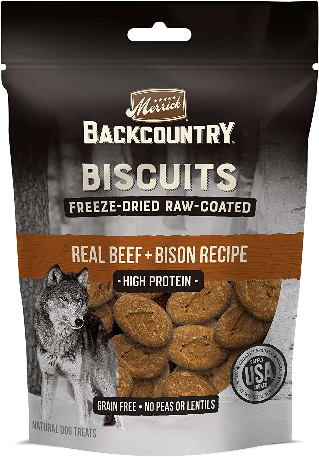 Merrick Backcountry Biscuits Real Beef + Bison Recipe Grain Free Freeze-Dried Raw Coated Dog Treats, 10-oz Bag