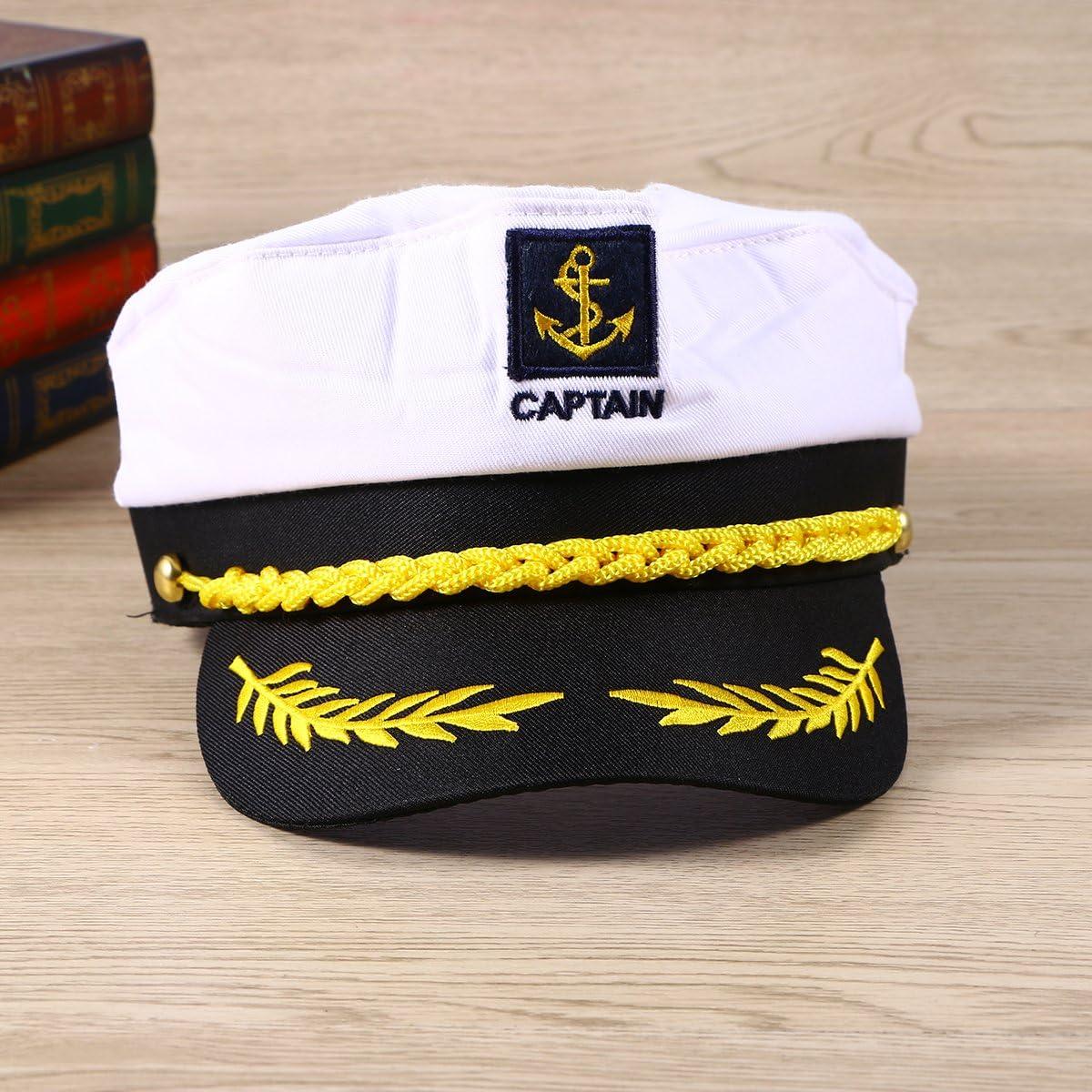 OULII Costume capitano Yacht barca nave marinaio cappello ammiraglio della Marina Marine bianco