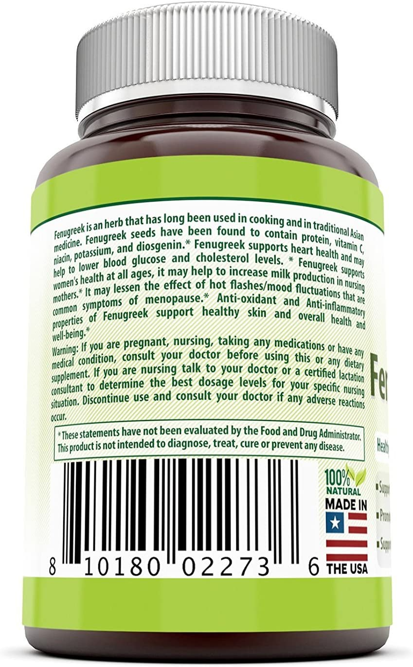 Herbal Secrets Fenugreek Seed Supplement - 610 mg 360 Veggie Capsules (Non-GMO) Made with Pure Seed Extract - Support Healthy Lactation, Digestive Health and Overall Well-Being*