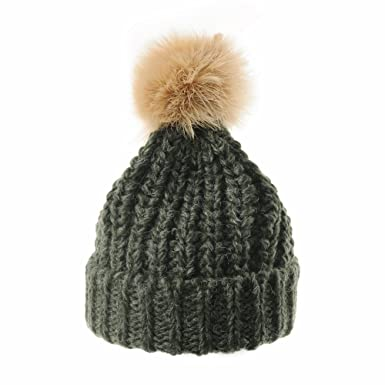 48c20e48c61 WITHMOONS Thick Crochet Knitt Faux Fur Pom Pom Beanie Hat Slouchy CR5511  (Green)  Amazon.co.uk  Clothing