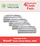 4 Replacements for Bissell 46B4 Series Striped Microfiber Pads Fit Steam & Sweep Hard Floor Cleaner, Compatible With Part # 75F5, 2032200 & 203-2200, Washable & Reusable, By Think Crucial