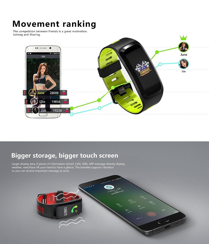 NO.1 F4 Pulsera Inteligente IP68 Impermeable Presión Arterial Oxígeno Blanco, Pulsómetro Monitor Smart Band para iOS y Android, Color Grey(Color Screen): ...