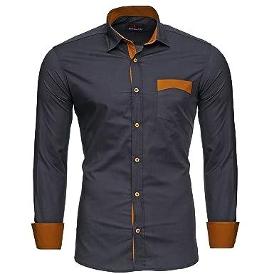 sale retailer 6f7cb 75370 Reslad Herren Hemd Exklusiv Two Tone Look Langarmhemd RS-7205