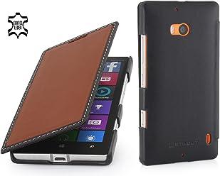 StilGut Book Type Case, Custodia in Vera Pelle Versione Booklet per Nokia Lumia 930, Marrone/Nero - Nappa