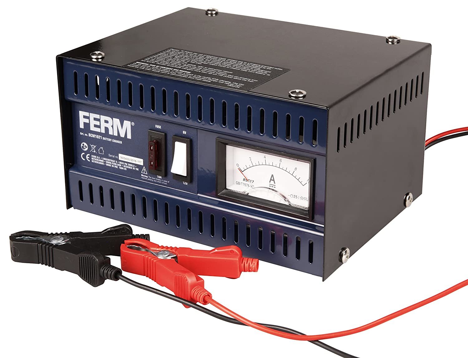 FERM BCM1021 Electronic Battery Charger - 6V/12V - Max. 75 Ah - 5 A - With Battery terminal cables