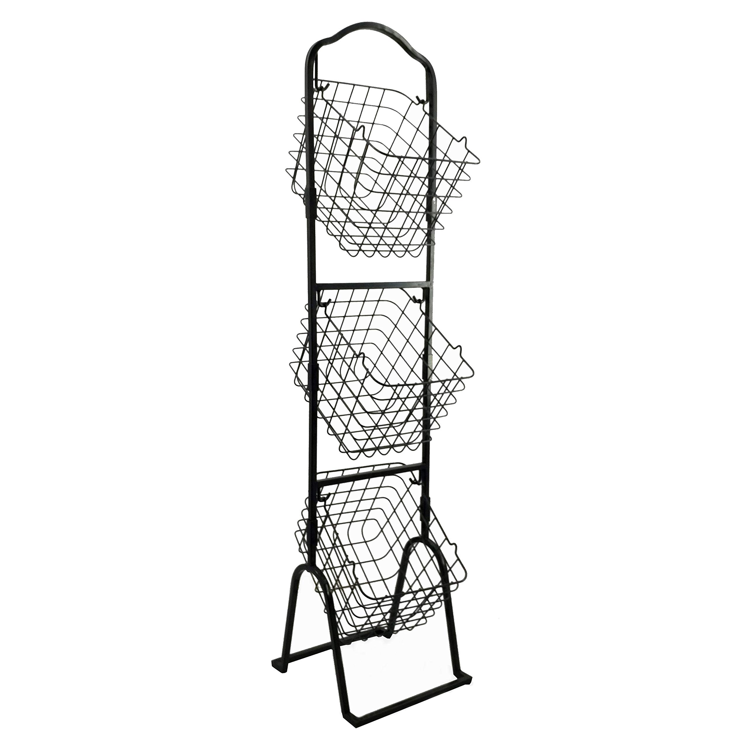 FixtureDisplays 3-Tier Metal Market Basket Display Rack for Stores, Offices, Home Use Black 16787