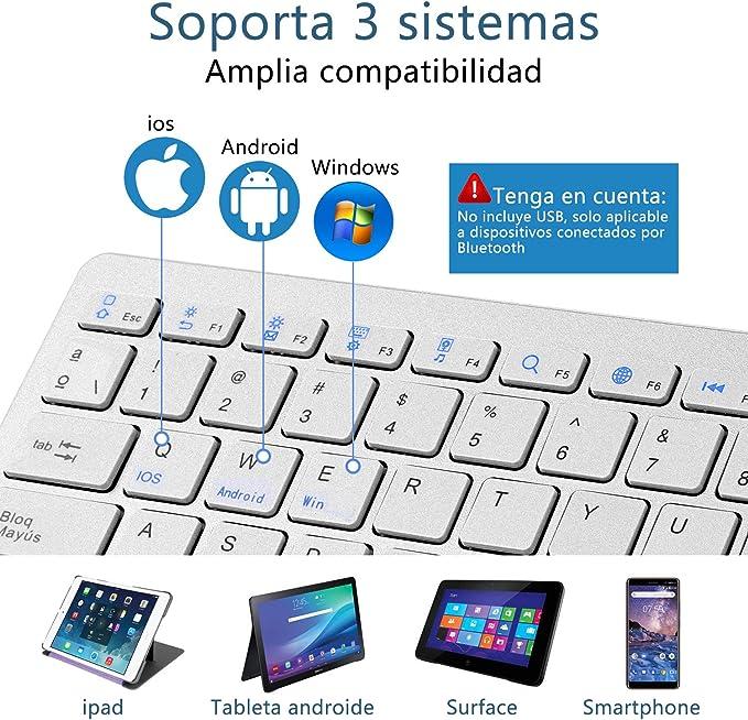 HANYEAL Teclado Bluetooth español, Apto para iOS iPhone, iPad, Samsung, Huawei, Android, Windows y Cualquier Dispositivo con Bluetooth