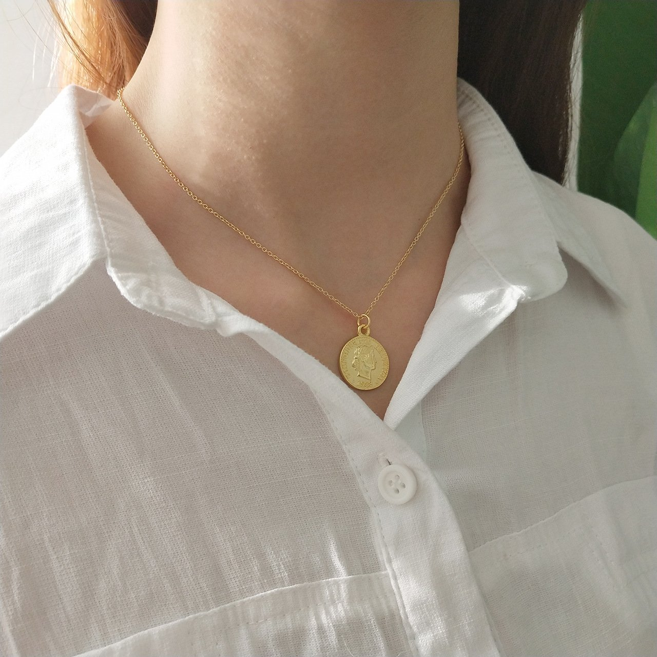 925 Sterling Silver Chain Necklace Jewelry Charm Gold Coin Pendent Simple Delicate Chic Fashion by yomee (Image #5)