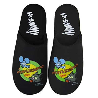 The Simpsons Itchy and Scratchy Show Men's Black Logo Slippers: Shoes