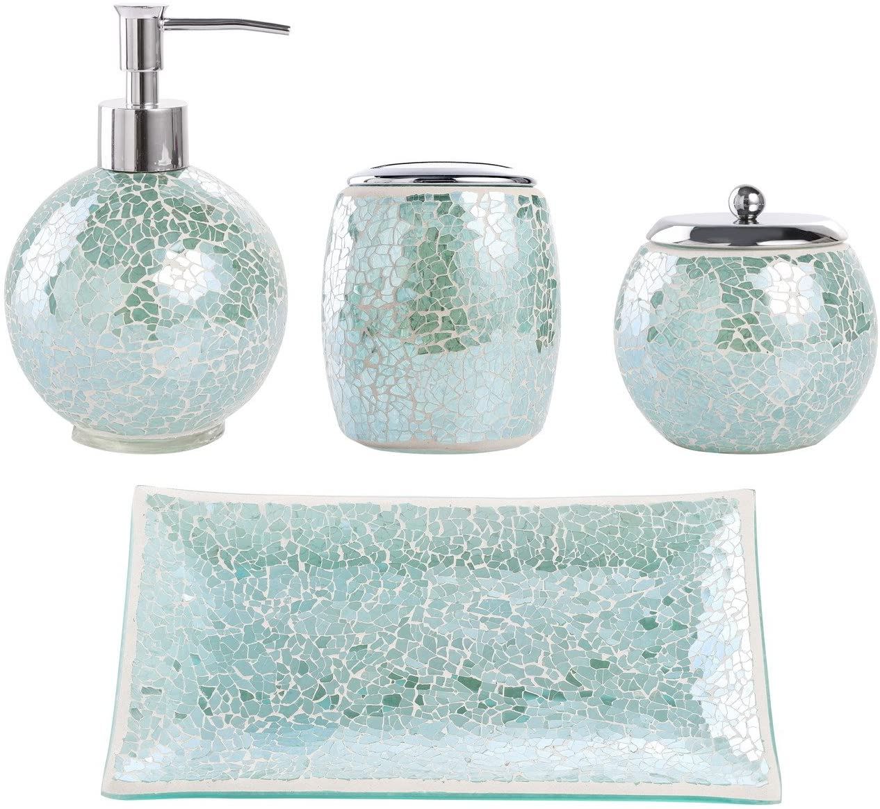 Whole Housewares Bathroom Accessories Set, 11-Piece Glass Mosaic Bath  Accessory Completes with Lotion Dispenser/Soap Pump, Cotton Jar, Vanity  Tray,