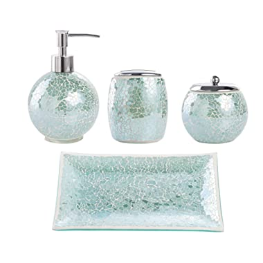 Whole Housewares Bathroom Accessories Set, 4-Piece Glass Mosaic Bath Accessory Completes Lotion Dispenser/Soap Pump, Cotton Jar, Vanity Tray, Toothbrush Holder (Turquoise)