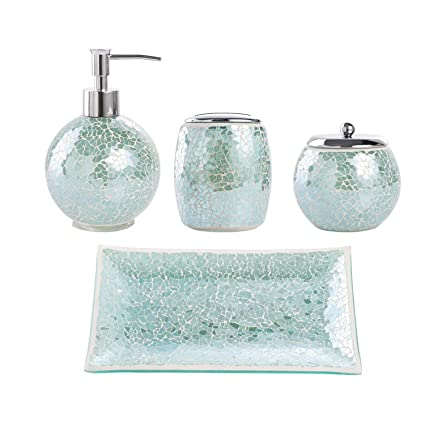 Etonnant WH Housewares Bathroom Accessories Set, 4 PIECE Glass Mosaic Completes With  Lotion/Soap