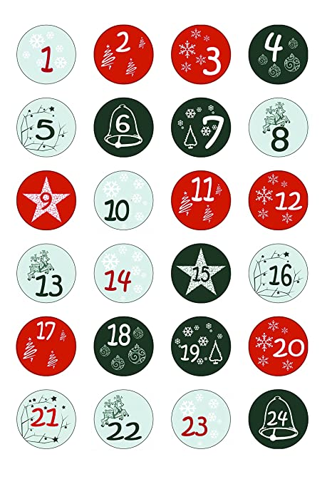 Numeri Per Calendario Avvento.Calendario Dell Avvento Di 24 Numeri Numeri Per Calendario Dell Avvento 1 24 Numero Adesivo Sticker Natale Advent Numeri