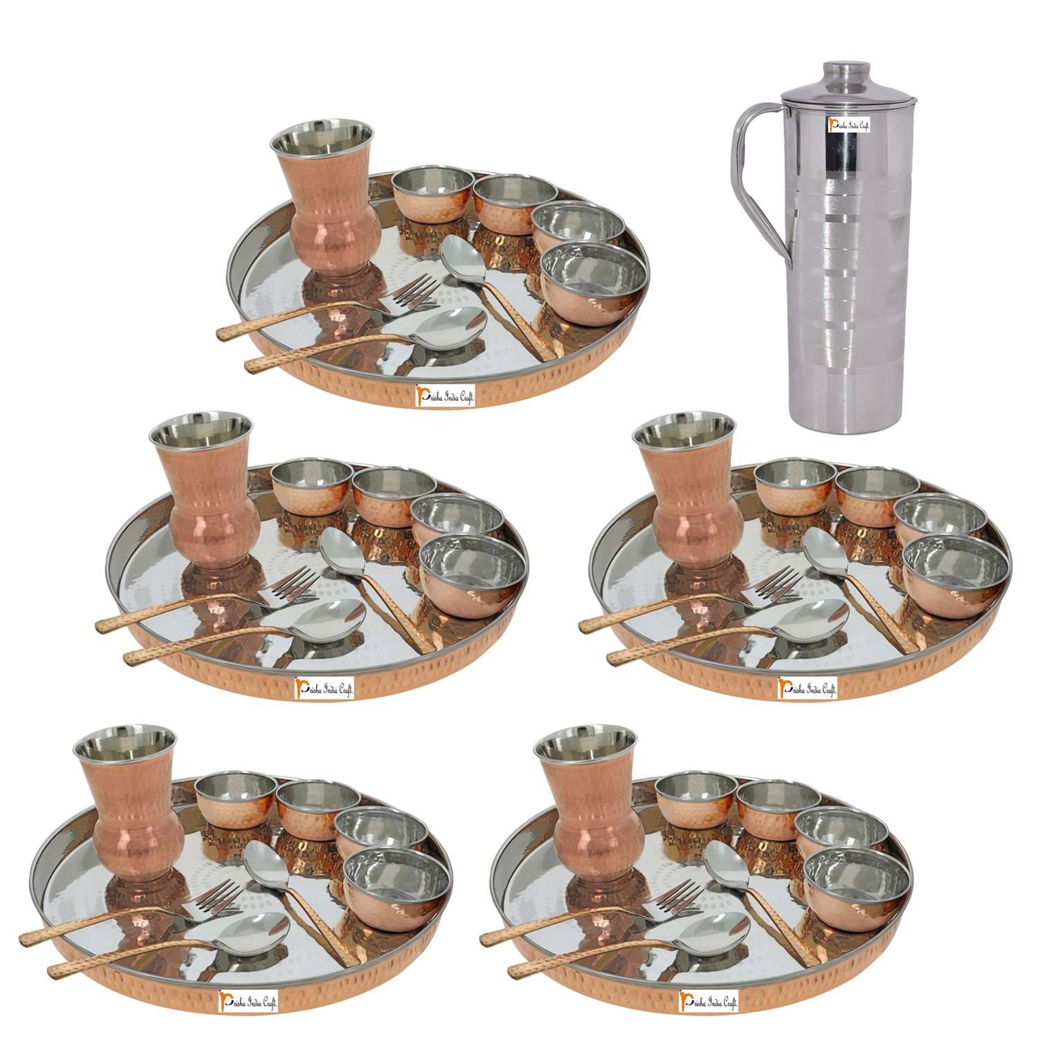 Prisha India Craft ® Set of 5 Traditional Stainless Steel Copper Dinner Set of Thali Plate, Bowls, Glass and Spoons, Dia 13'' With 1 Stainless Steel Copper Pitcher Jug - Christmas Gift