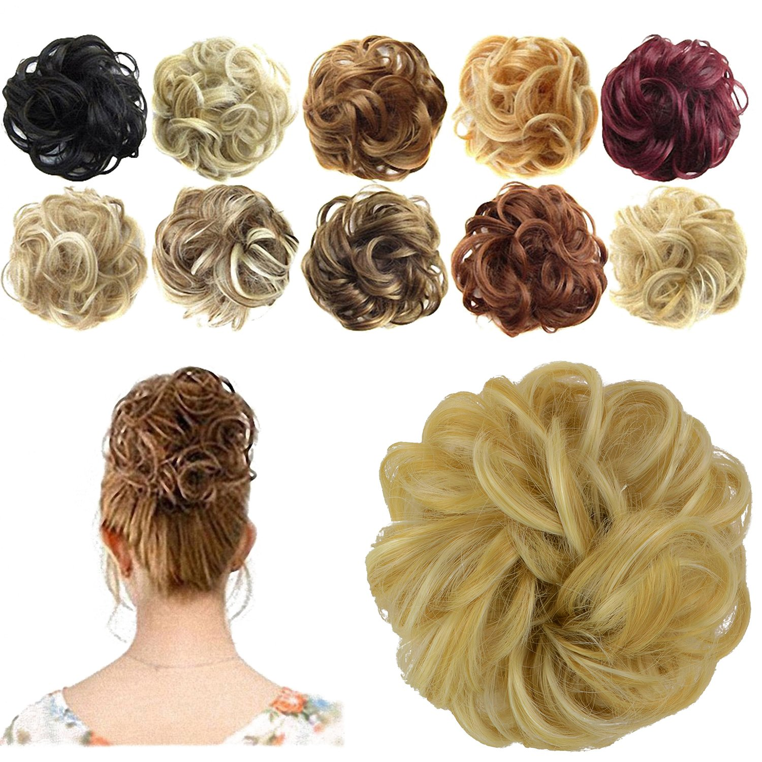 Feshfen Synthetic Hair Bun Extensions Messy Hair Scrunchies Hair Pieces For Women Hair Donut Updo Ponytail On Galleon Philippines