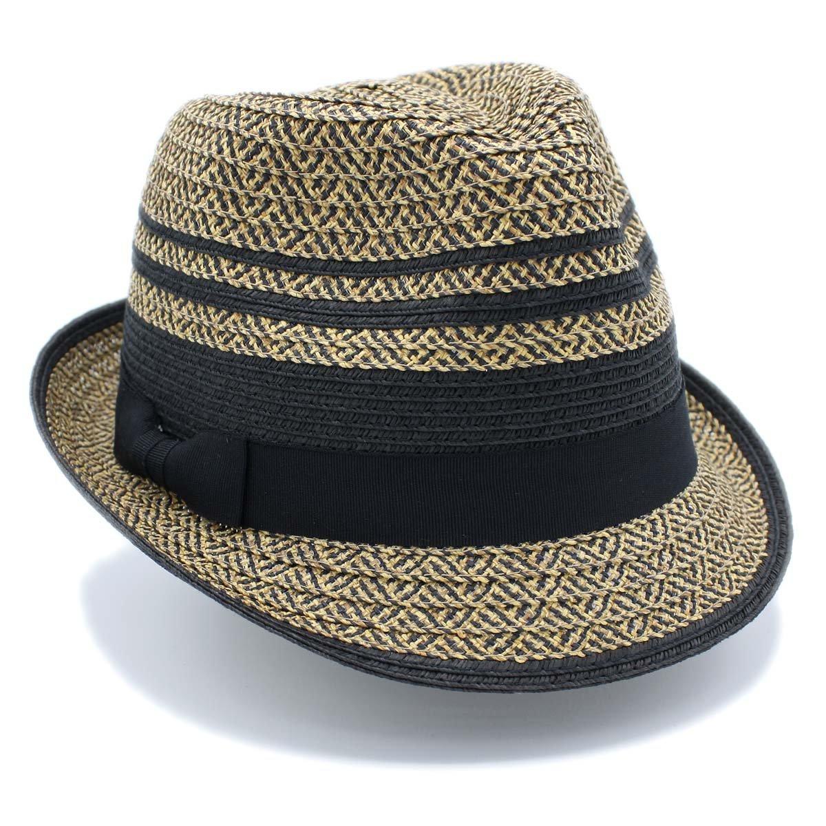 1 3/4'' Wide Brim Panama Roll Up Fedora Sun Hat Beach Cap With Band (A-Black)