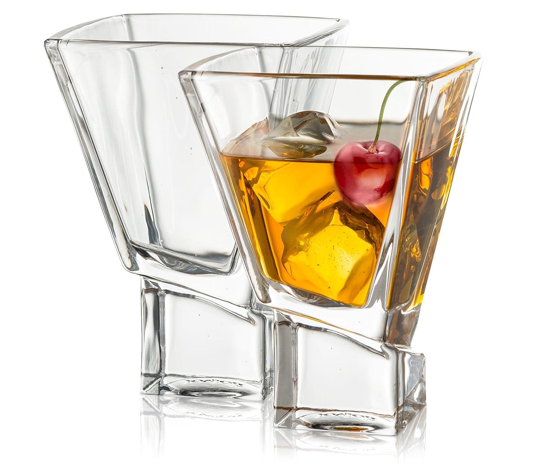 JoyJolt Carre 2-Piece Cocktail Glasses Set, 8 Ounce martini glasses JG10225