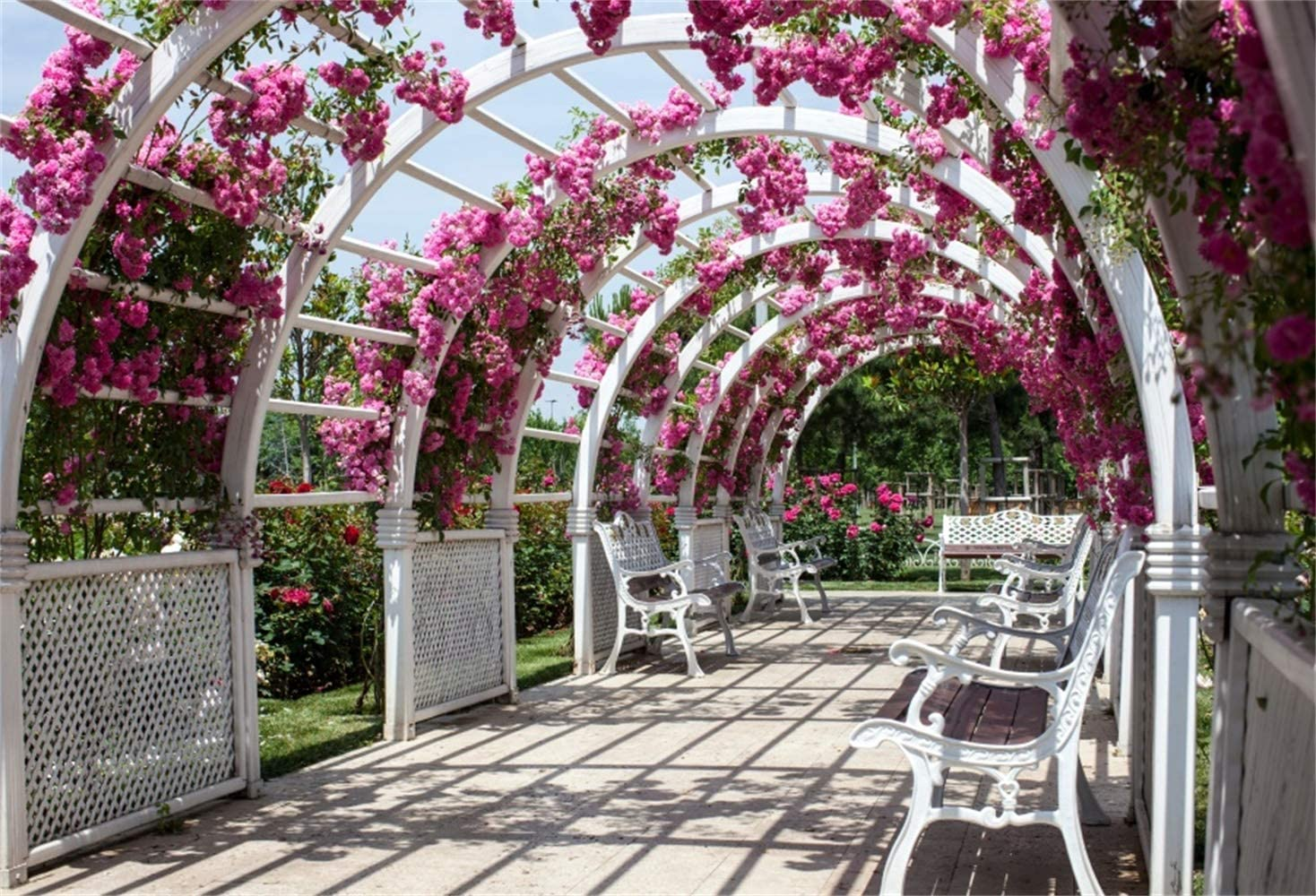 Wedding Photoshoot Backdrop 10x6.5ft Polyester Fantastic Fuchsia Floral Archway Pavilion White Benches Summer Garden Scenic Background Wedding Photo Booth Bride Groom Shoot Studio Props