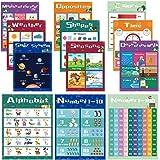 Educational Preschool Learning Posters for Toddlers, Kids Posters for Nursery Homeschool Kindergarten, Numbers Alphabet Color