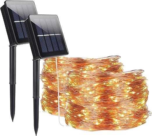 Luces solares de cuerda al aire libre, ALED LIGHT 2 Pack 15m ...