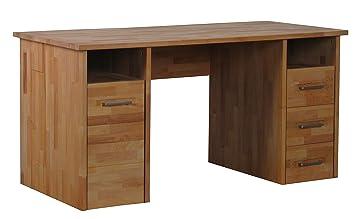 Massivholz Schreibtisch Kernbuche Geölt Amazonde Küche Haushalt