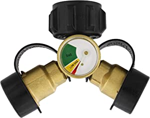 Dumble Propane Tank Adapters LP Gas Line Splitter 2 Way Hose Tee Y Propane Splitter with Gauge - 2 QCC1 Thead and 1 POL