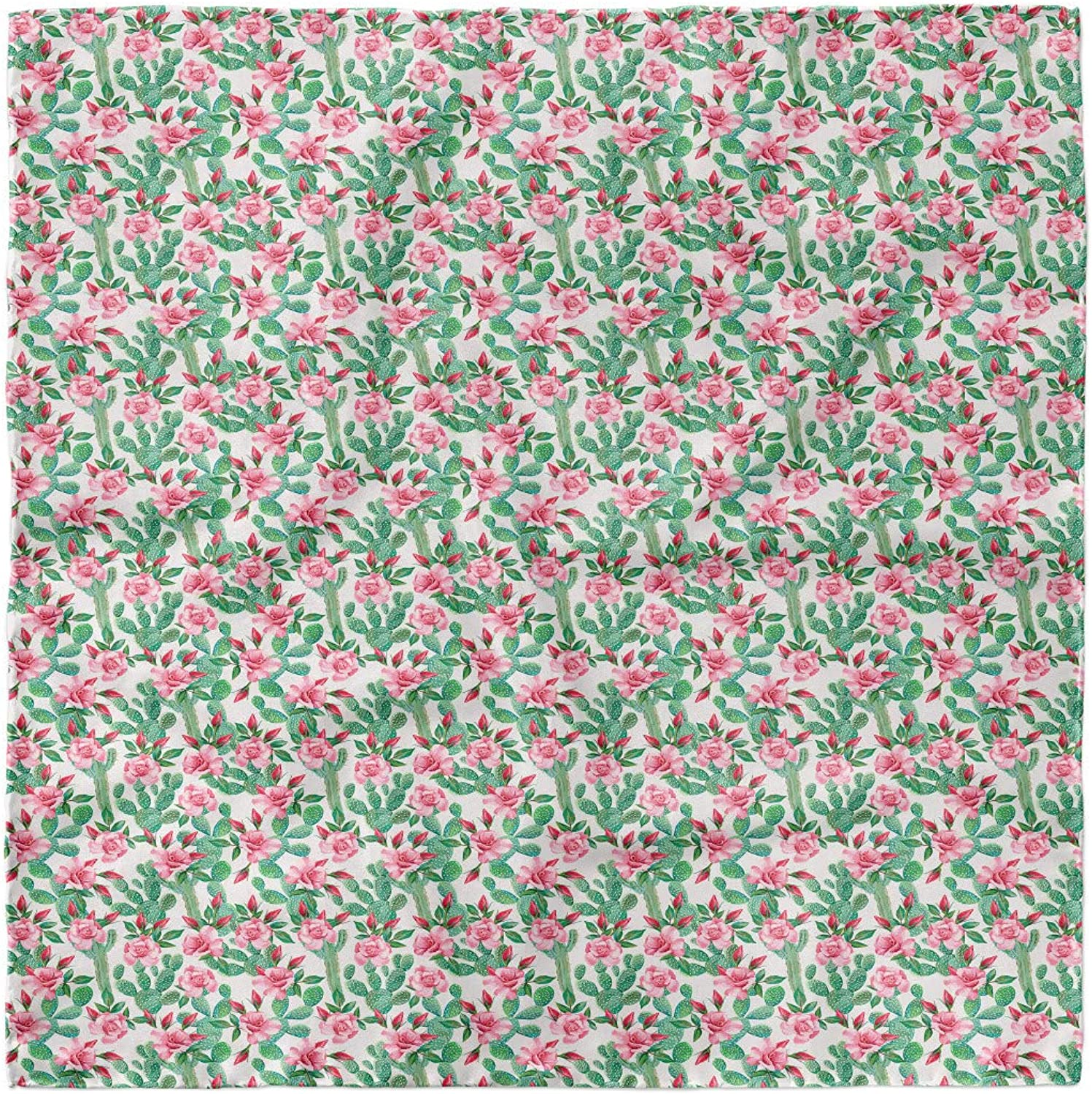 Ambesonne Floral Headscarf Rosebuds with Cactus Art Hijab Scarf