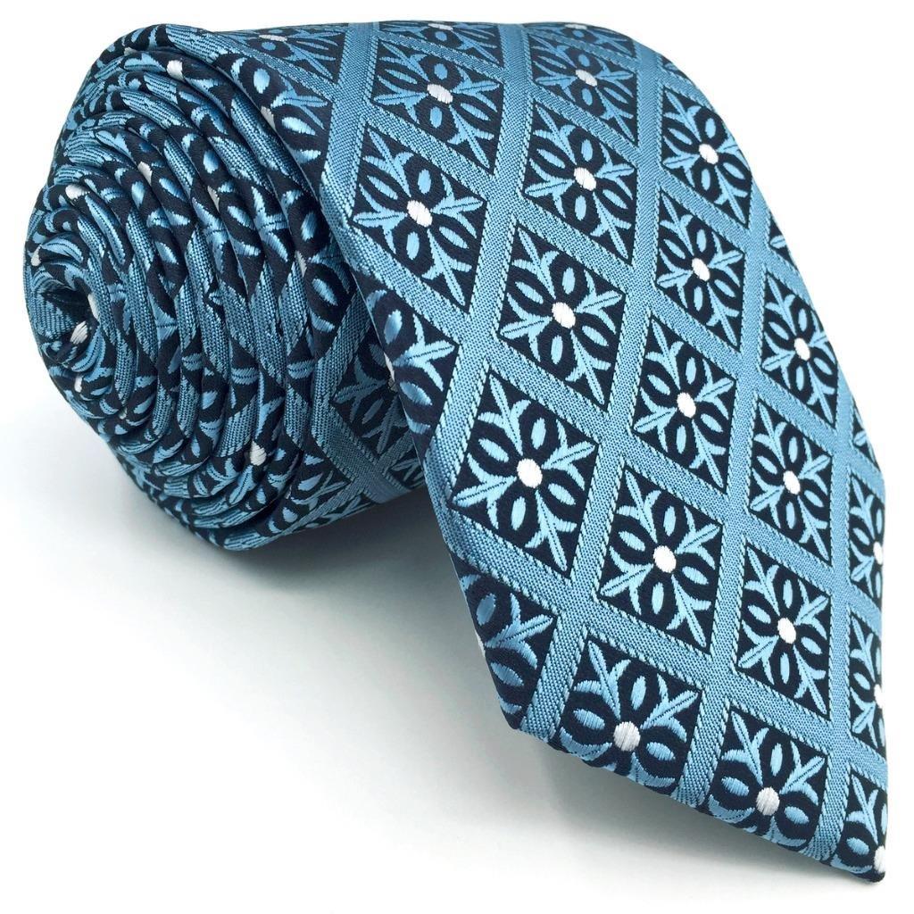 SHLAX&WING Designer Corbatas for Men Slate Azul a cuadros 147cm ...
