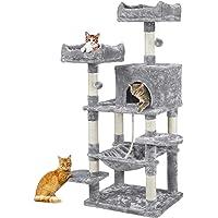 Yaheetech Kattklösträd stabilt klättringsträd kattklösträd med sisal klösträd hängmatta och kattgrotta