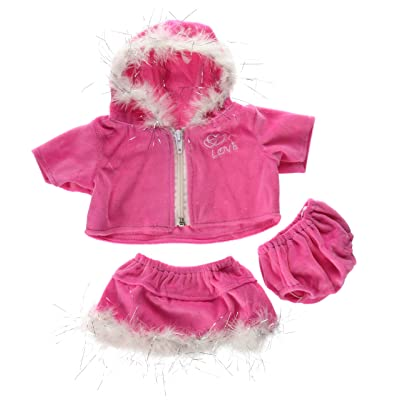 "Pink Love Dress Teddy Bear Clothes Outfit Fits Most 14"" - 18"" Build-a-Bear, Vermont Teddy Bears, and Make Your Own Stuffed Animals: Toys & Games"