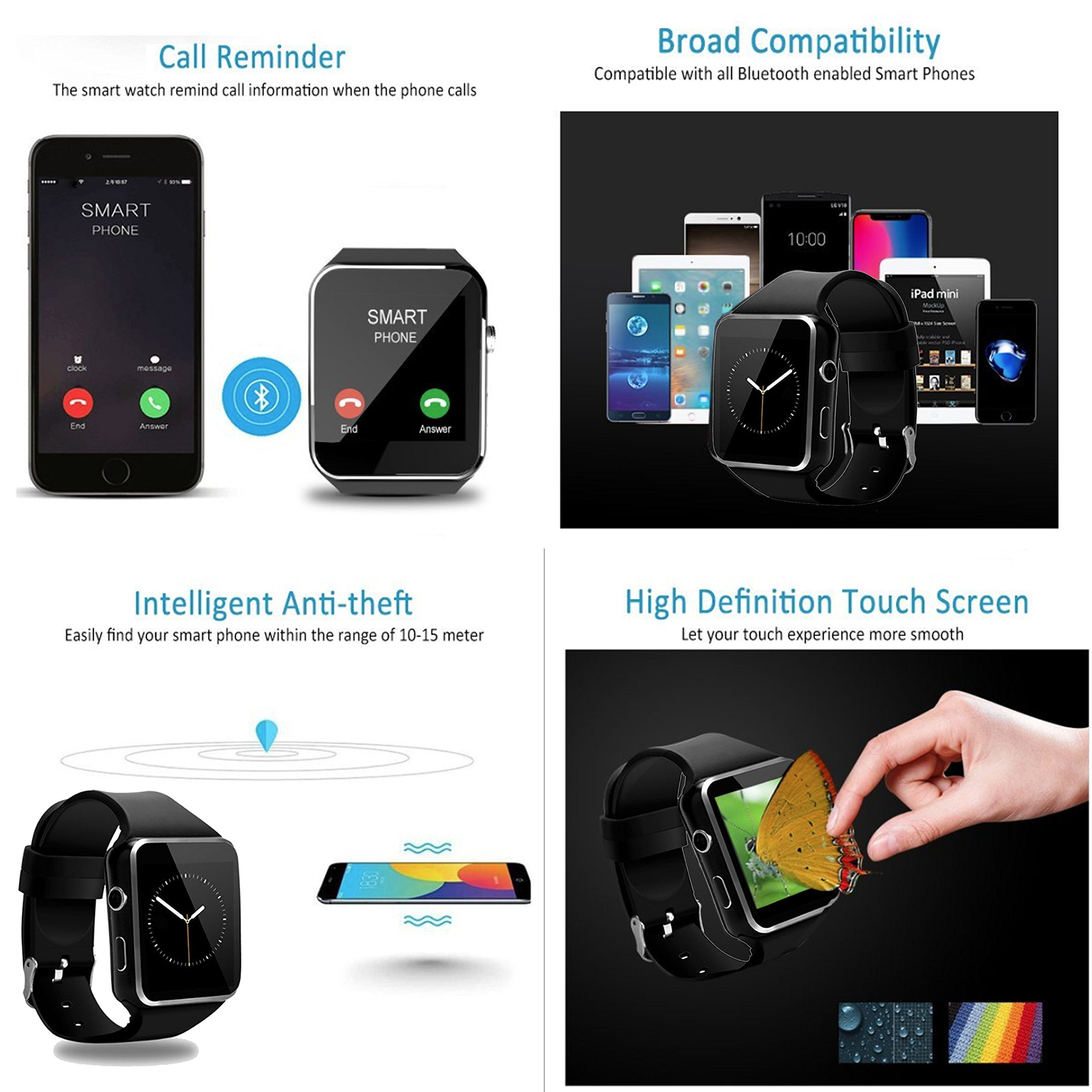 2018 Newest Bluetooth Smart Watch Touchscreen with Camera,Unlocked Watch Phone with Sim Card Slot,Smart Wrist Watch,Smartwatch Phone for Android Samsung S9 S8 IOS Iphone 8 7S Men Women Kids (BLACK) by JAVENSMARTEQT (Image #7)