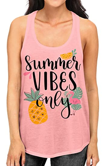 a4768d667af0 Junior s Summer Vibes Only Tee B958 PLY Baby Pink Racerback Tank Top Small