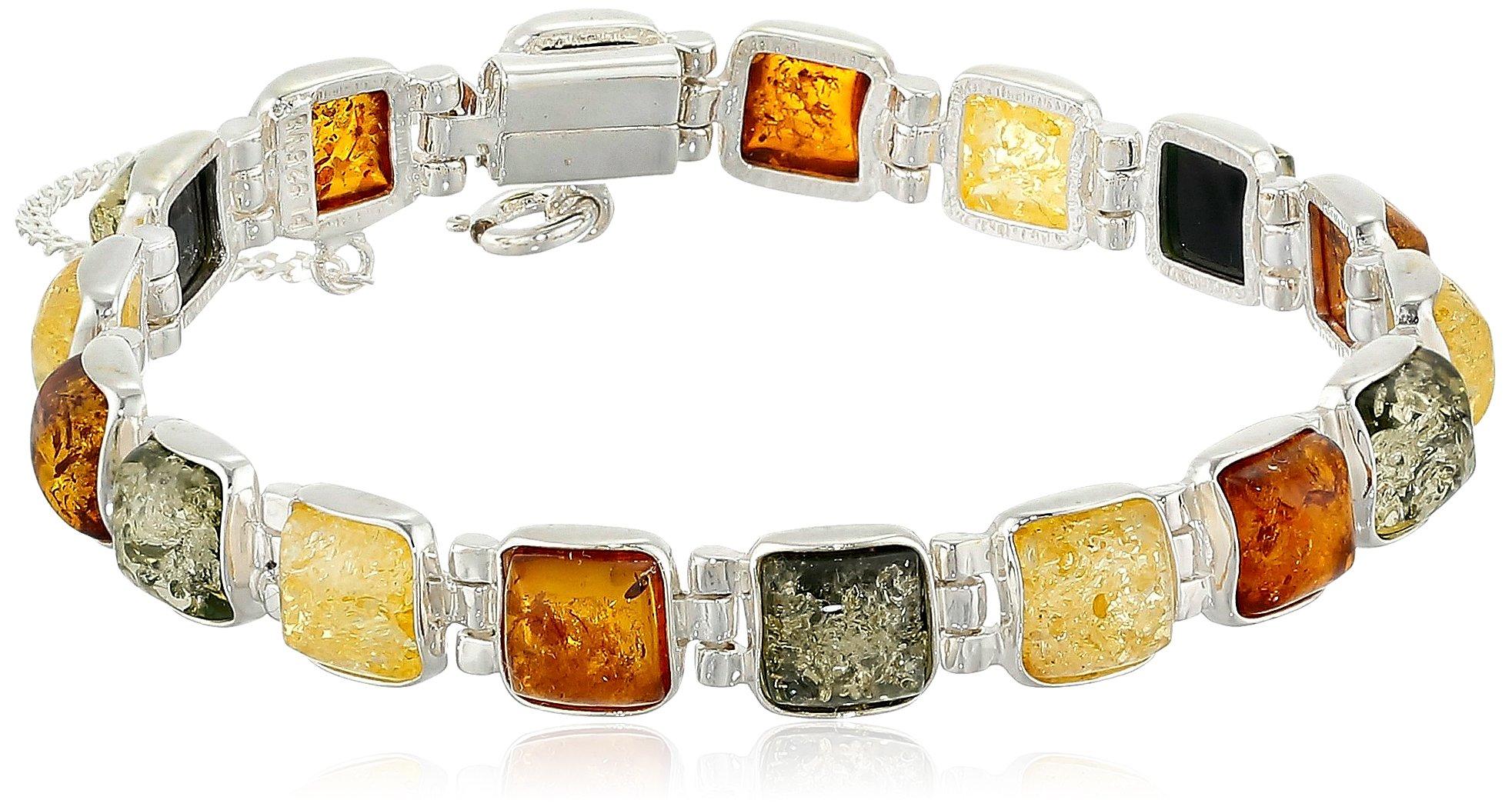 Sterling Silver Multicolored Amber Bracelet, 7''