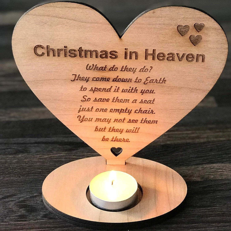 Christmas In Heaven Lantern.Christmas In Heaven Remembrance Heart Tea Light Holder