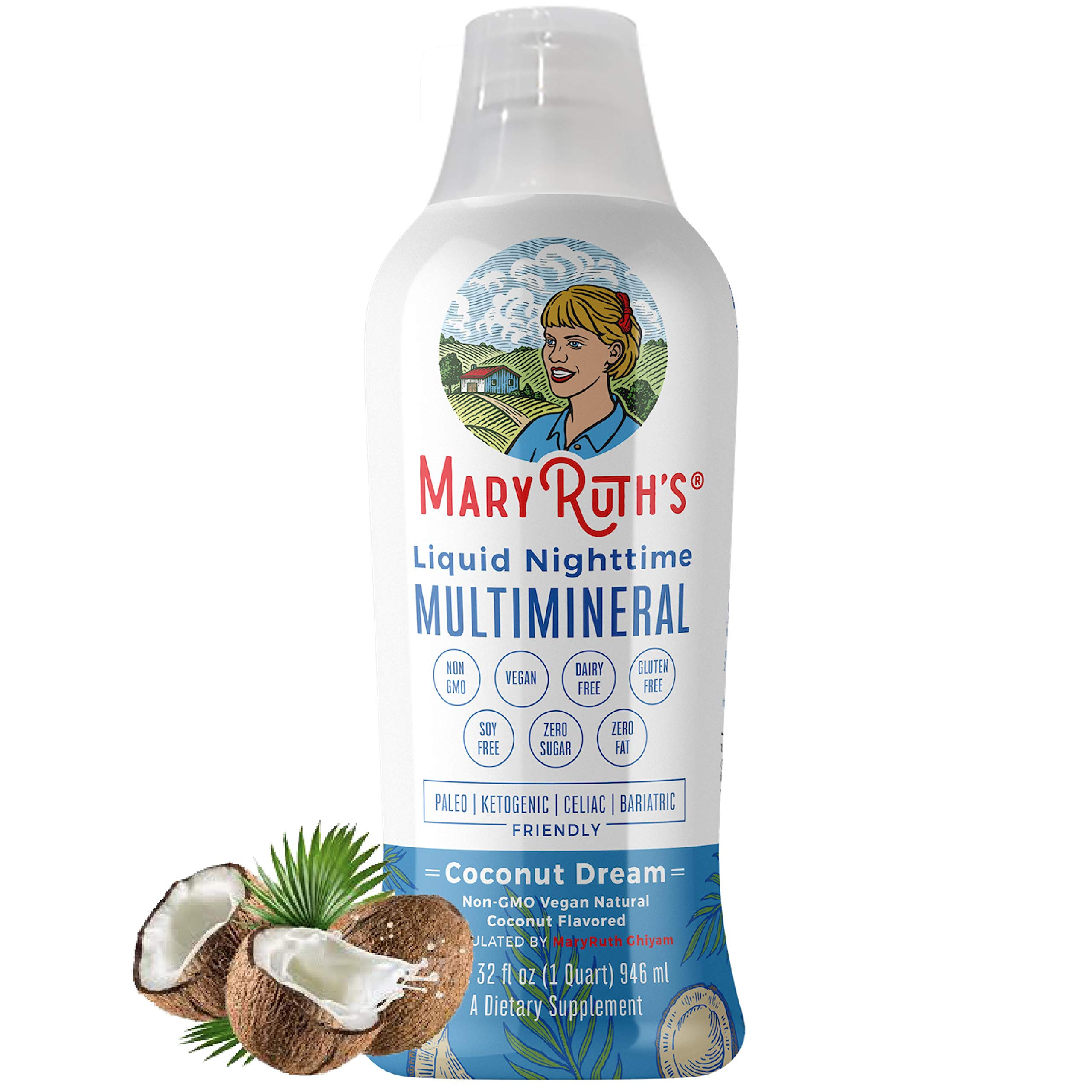 Liquid Sleep Multimineral by MaryRuth (Coconut) Vegan Vitamins, Minerals, Magnesium, Calcium