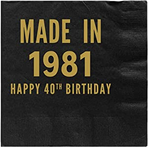 Mandeville Party Company, 50 count Black Cocktail/Beverage Napkins, Happy 40th Birthday - Made in 1980