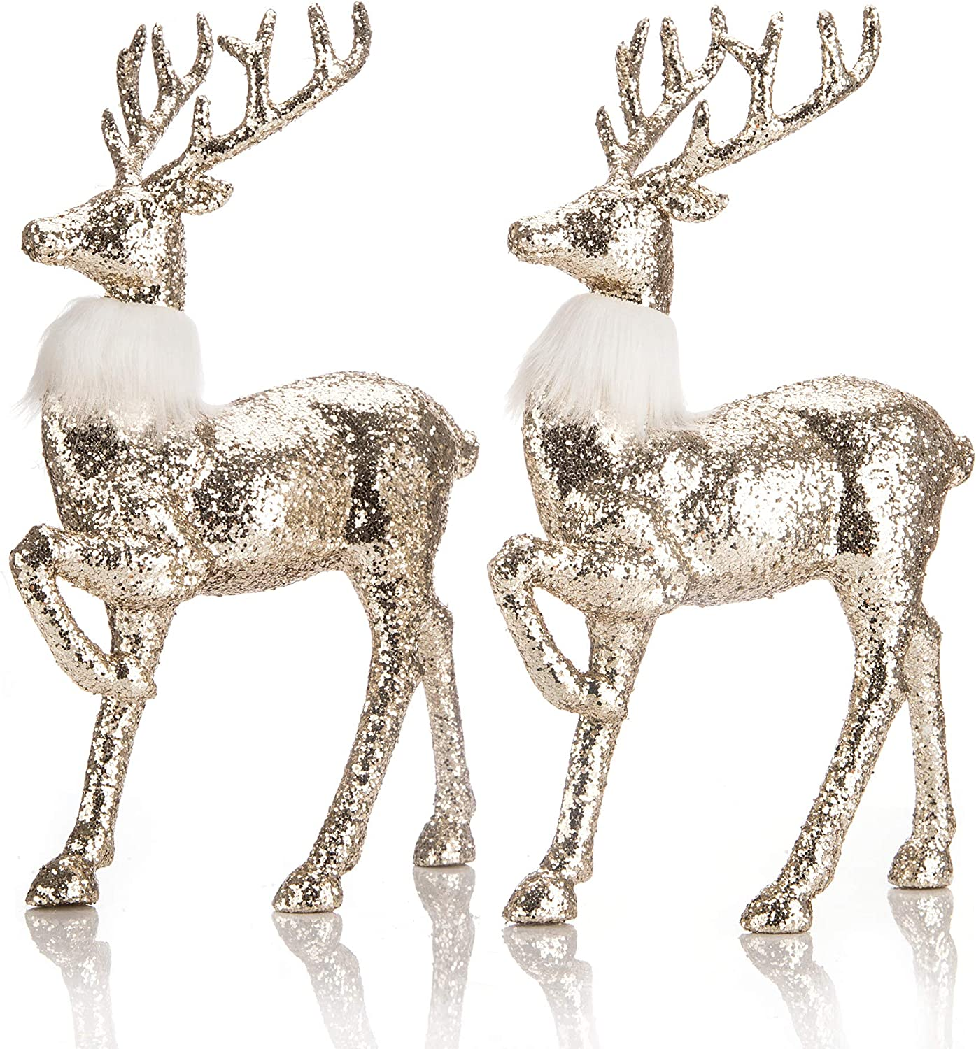 blitzlabs Green Sequined Glitter Christmas Reindeer Indoor Homely Creative Furnishing Articles Display Freestanding for Living Room, Tabletop, Kitchen ,Mantle, Shelf ,Desk Winter Decor,Set of 2
