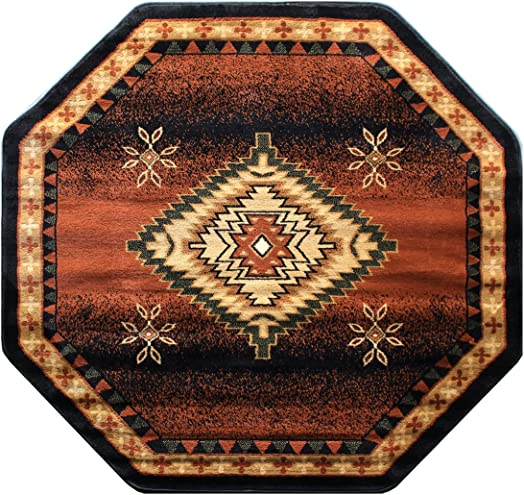 Bellagio Southwest Native American Octagon Area Rug Design 357 Black 5 Feet 3 Inch x 5 Feet 3 Inch Octagon