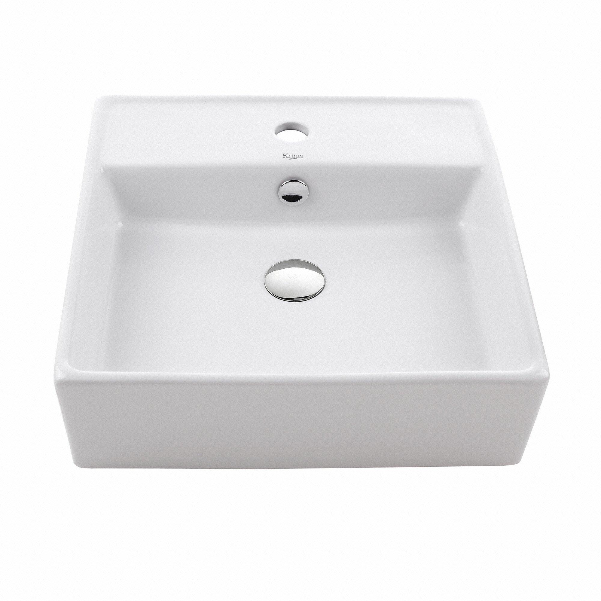 Kraus KCV-150 White Square Ceramic Bathroom Sink by Kraus
