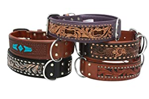 Angel Pet Supplies Genuine Leather Tooled Dog Collar