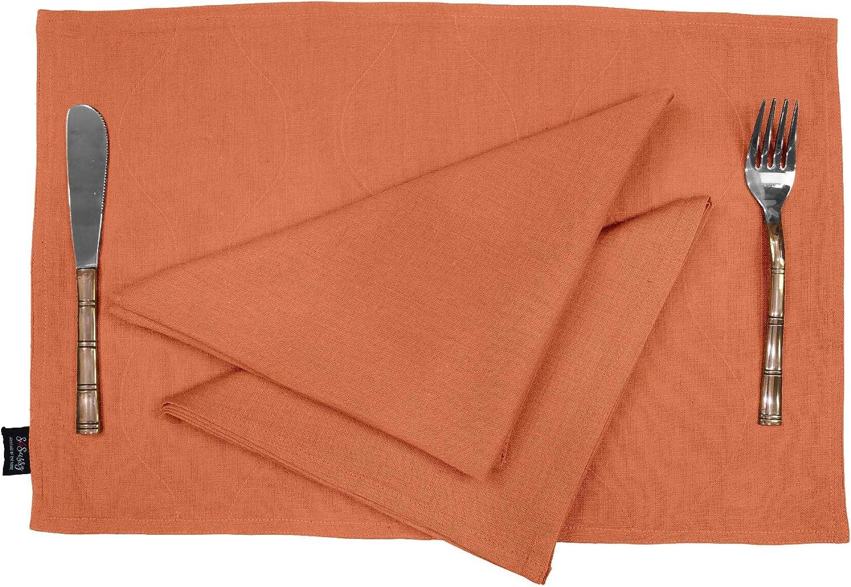 S4Sassy Naranja decoración del hogar Flex Algodón Manteles Individuales Lavables Cotidianas con Servilletas De Mesa De Comedor Decoración-Placemat-12x18|Napkin-18x18 (12 Pcs): Amazon.es: Hogar