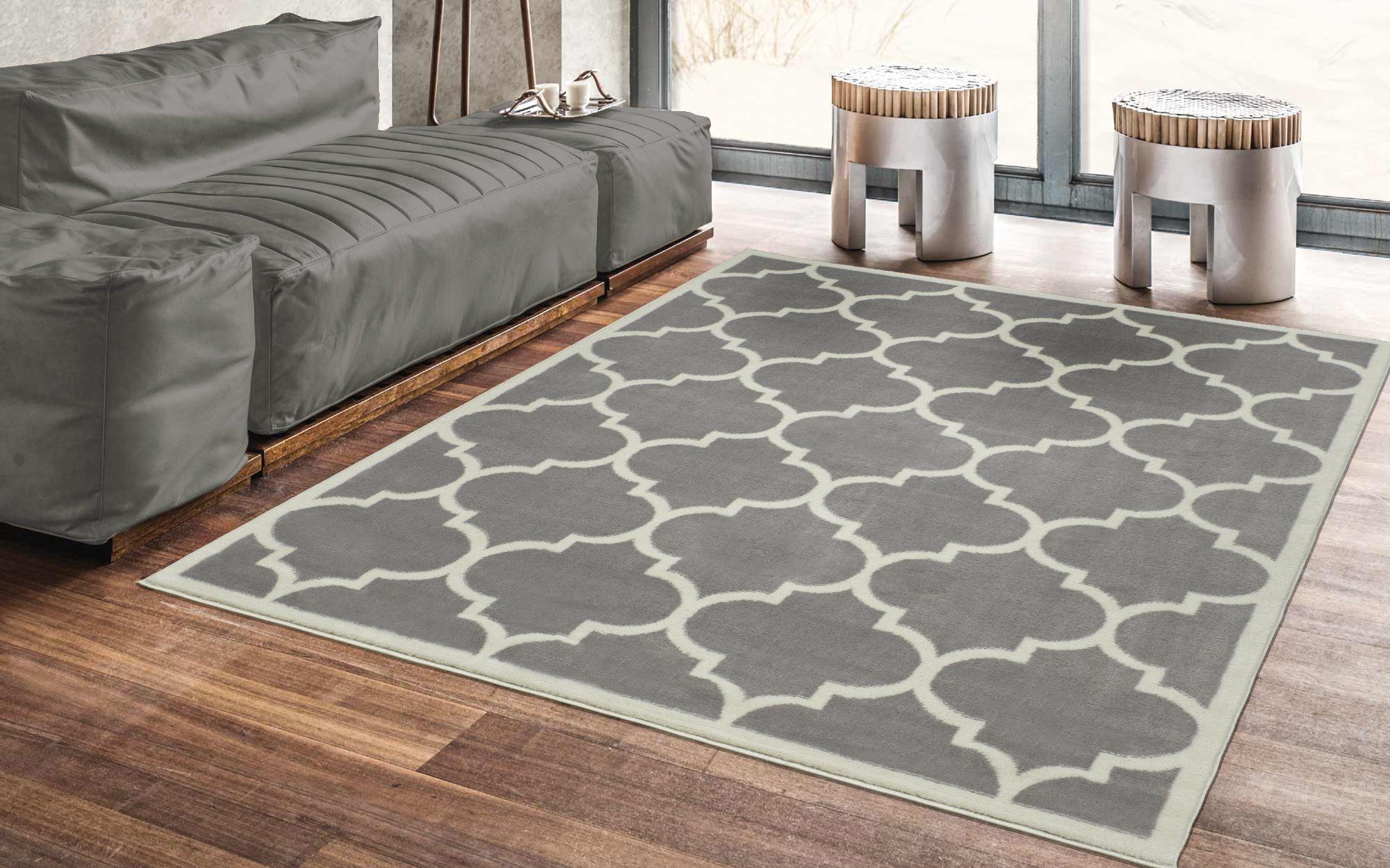 Ottomanson Paterson Collection Grey Contemporary Moroccan Trellis Design (5'x7') Lattice Area Rug