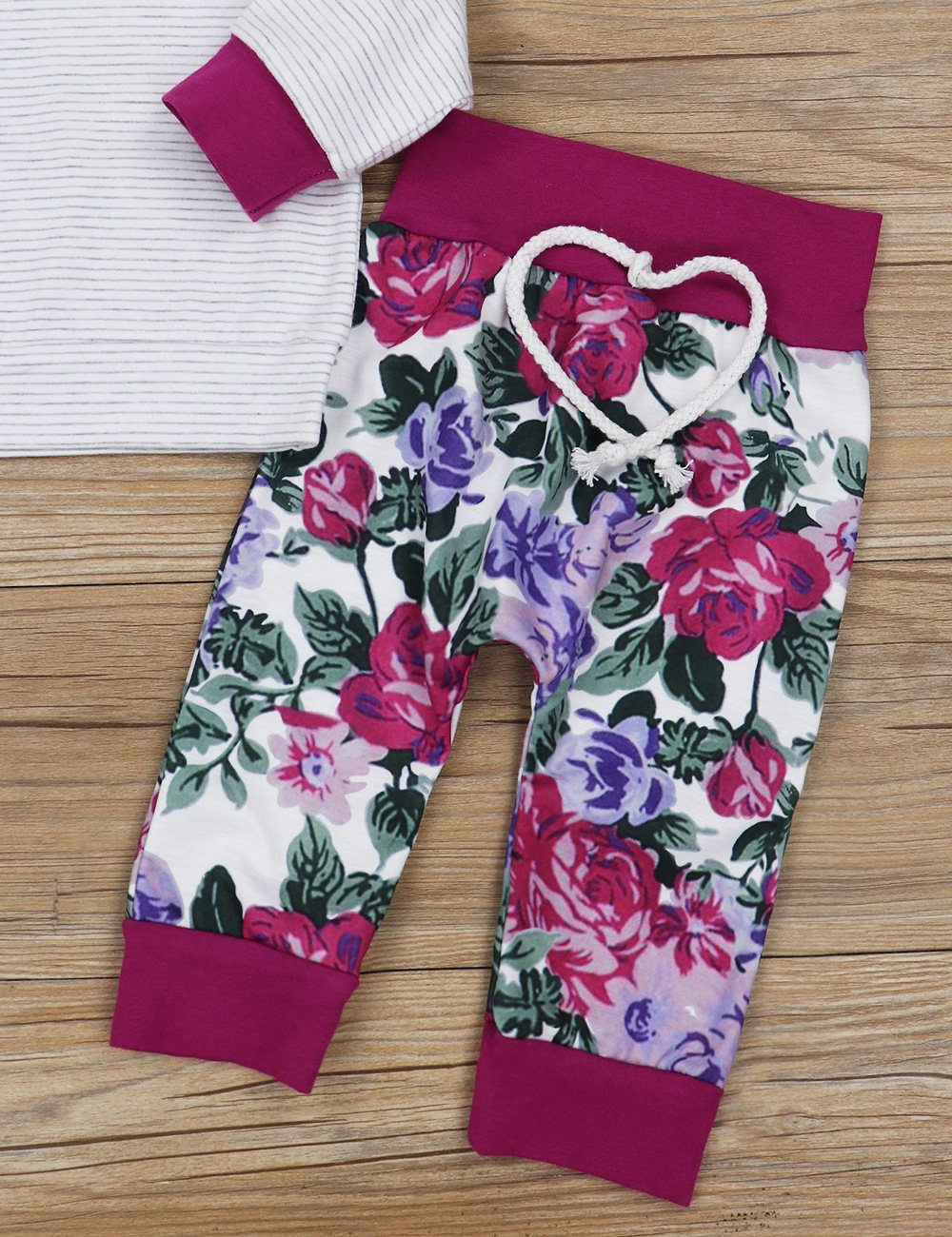 Baby Girls Long Sleeve Flowers Hoodie Tops and Pants Outfit with Kangaroo Pocket Headband (0-6 Months) by Oklady (Image #6)