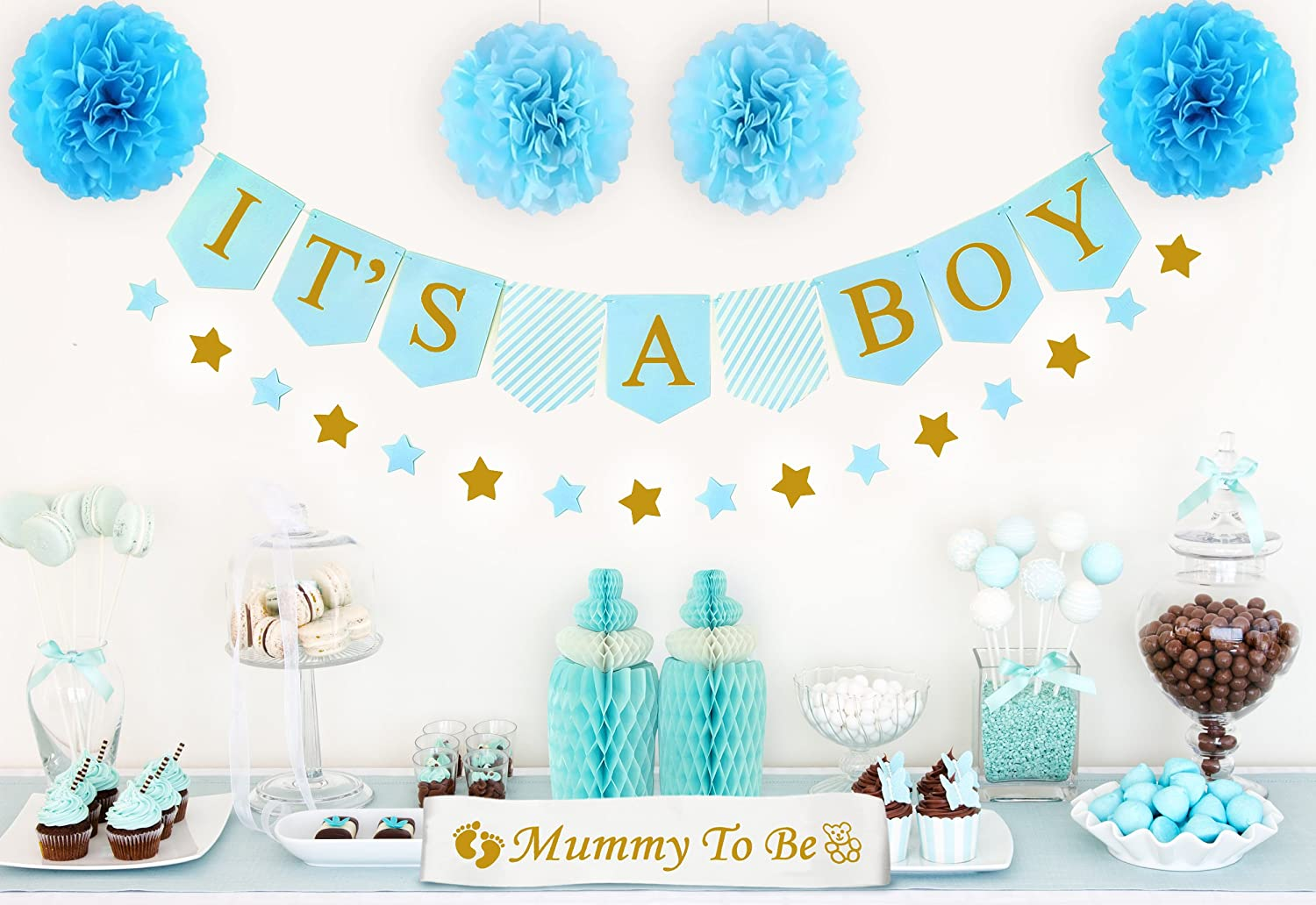 Baby Shower Decorations for Boy - Blue and Gold It's a Boy Banner, Baby  Bottle Centerpieces, Star Garlands, Paper Pom Poms, Bonus Mommy Sash |  Party Supply ...