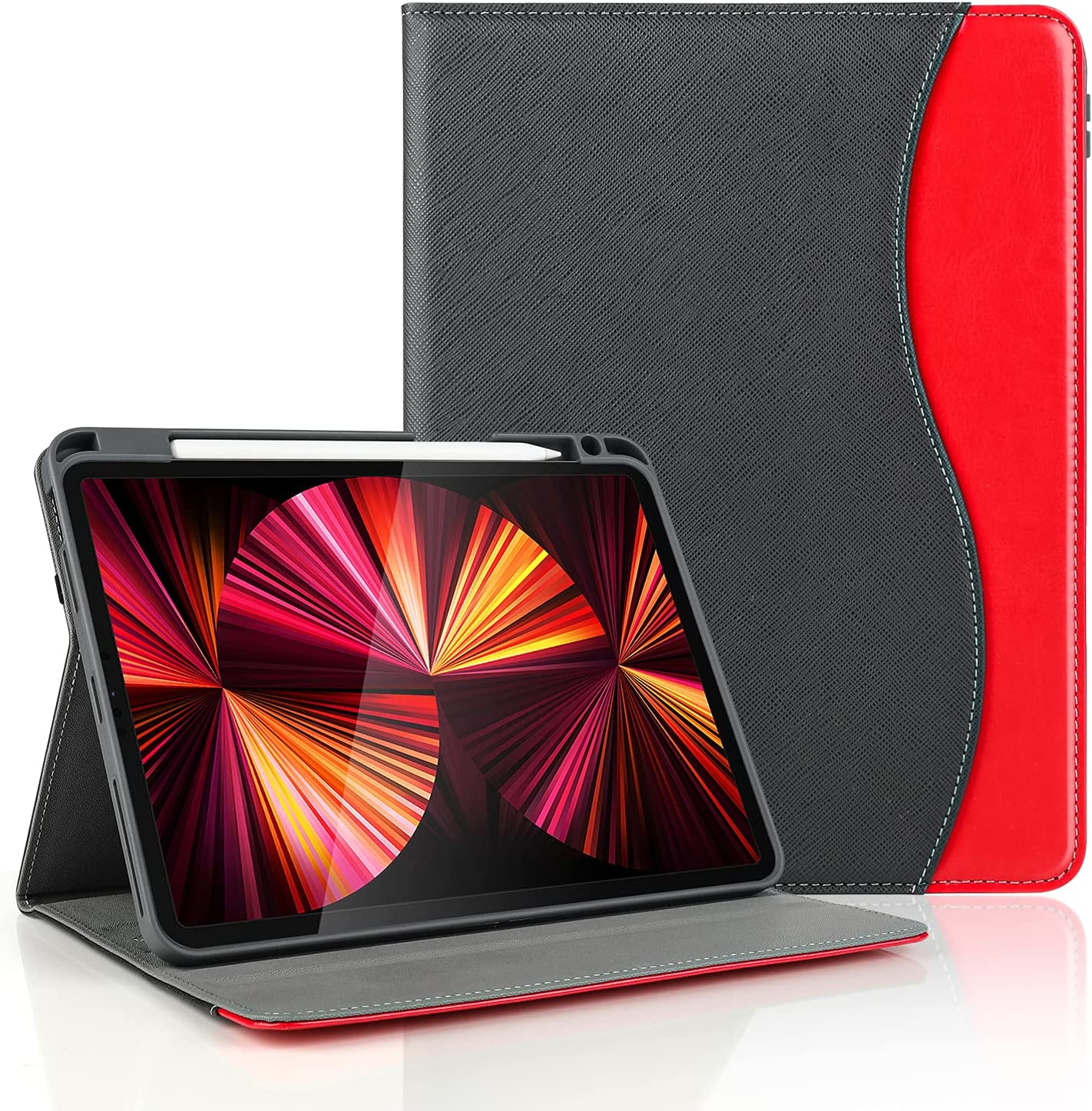 iPad Pro 11 Inch Case 2021/2020, iPad Air 4 Case with Pencil Holder, Multi-Angle Viewing Full Body Protective Shockproof Smart Cover Auto Wake/Sleep - Black+Red